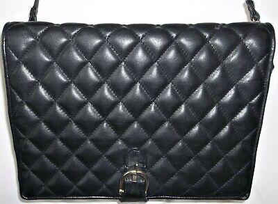 Vintage Brio Black Leather Purse Hand Bag Cross Body Shoulder Quilted Vtg Brio!