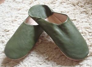 VERY-SOFT-LEATHER-SLIPPERS-MULES-OLIVE-GREEN-9-43-From-Morocco