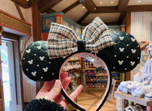 SHDR 2021 Tweed & Pearl Minnie mouse ear Headband shanghai Disneyland Disney