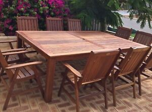 Genuine Solid Wooden Outdoor Table 2.4 x 1.6 & 10 Sturdy Chairs