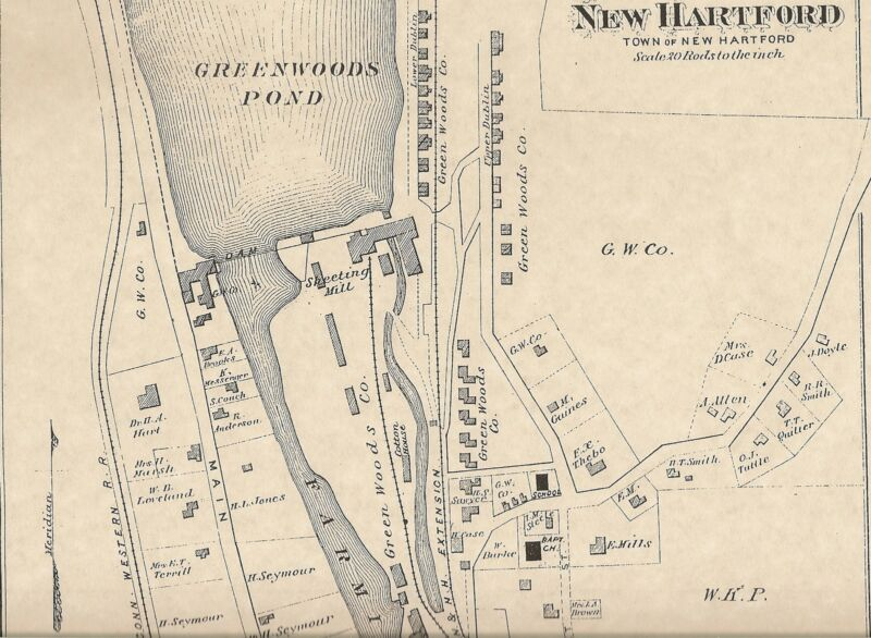New Hartford Pine Meadow Bakersville CT 1874 Maps with Homeowners Names Shown