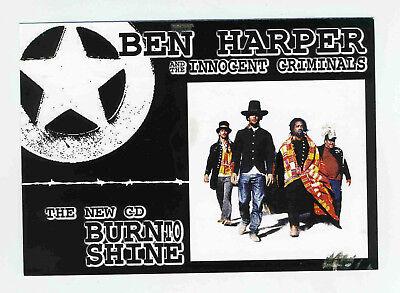 BEN HARPER & THE INNOCENT CRIMINALS BURN TO SHINE PROMO POSTCARD
