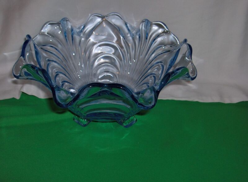Vintage Cambridge Caprice Moonlight Blue Glass 4 Toed Crimped  Bowl #300