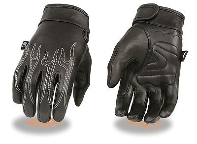 Men's Flame Embroidered Leather Motorcycle Riding Glove w/ Gel Padded Palm SH820