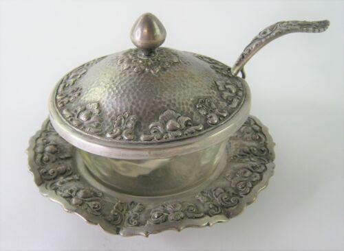 Indonesian Yogya Jogya Silver Condiment Server, Jelly, Jam Bowl w/ Fire King 424