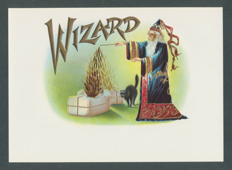 Powerful Wizard Casting Magic Spell on Original Antique Cigar Box Label Art