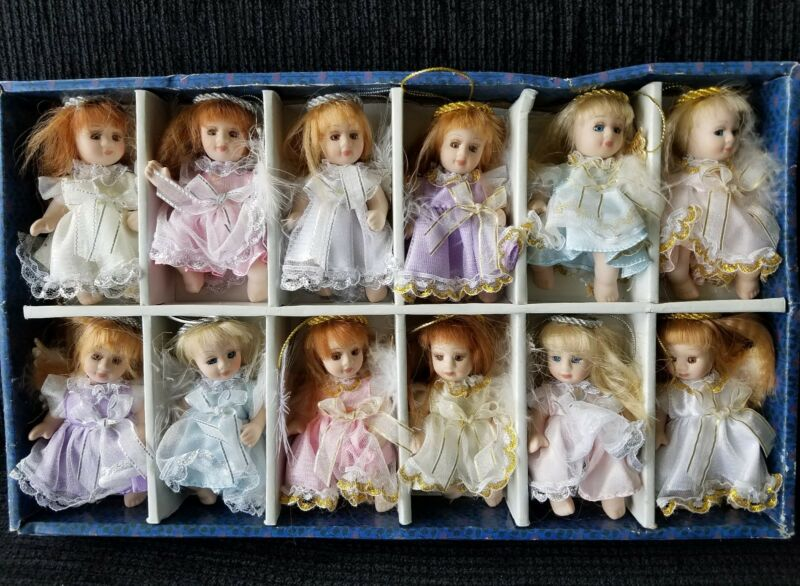 VTG. & Rare Porcelain Doll Angel Ornaments. Lilian Collection Painted Fine China