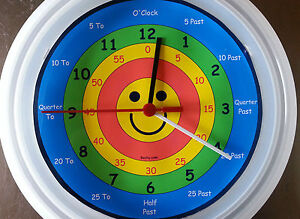 NEW EARLY LEARNING TELL THE TIME WALL CLOCK WITH CENTER SMILEY PRESCHOOL kids  @