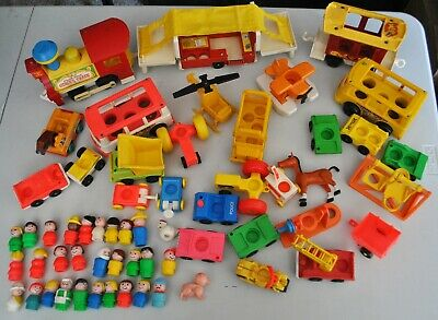 HUGE LOT OF VINTAGE FISHER PRICE LITTLE PEOPLE AND VEHICLES, ANIMALS ETC..