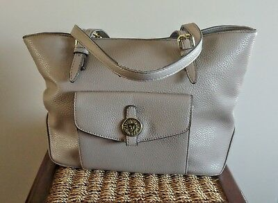 Anne Klein Handbag Shoulder Purse Tan Pebble Grain Leather Tote Medium