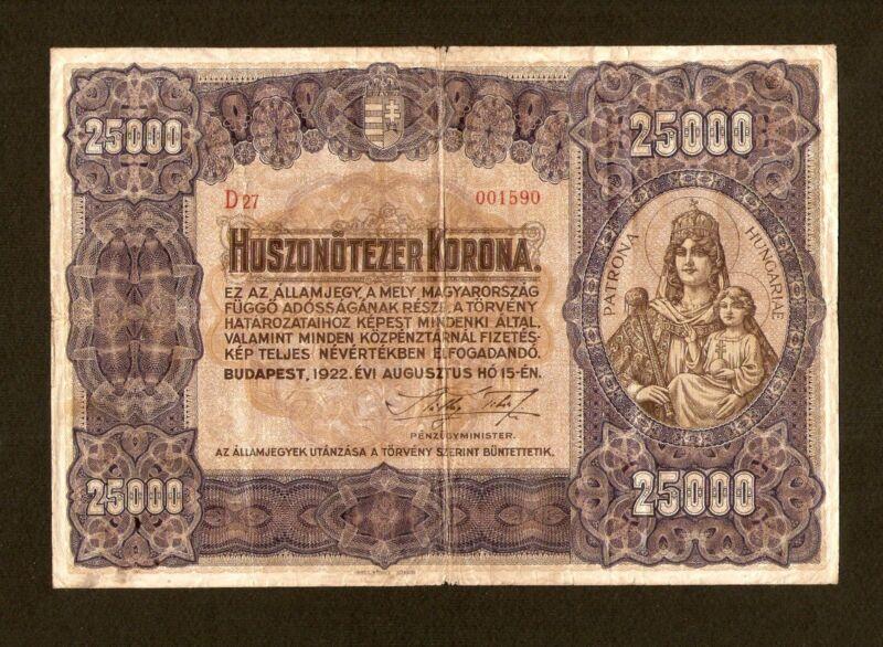 Hungary Ungarn 25000 25.000 Korona 1922. Huge Banknote .Pick # 69 . Very rare !!