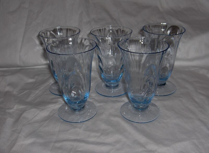 5 Vintage Cambridge Crystal Caprice Juice Goblets Moonlight Blue #300 RARE