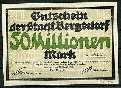 Bergedorf 50 Millionen Mark Notgeld 23.8.1923
