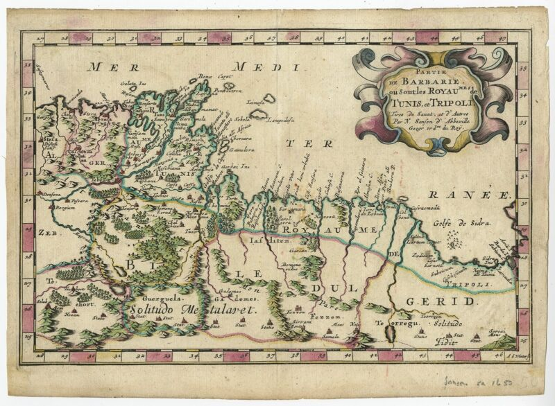 Antique Map of the region of Tunisia and Libya by Sanson (1683)