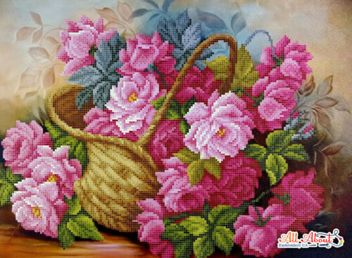 Bead embroidery kit Basket of Roses beaded cross stitch kit Floral beading