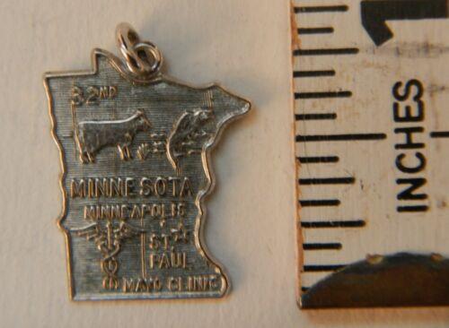 Minnesota State Charm Pendant Vintage Engraved JPS 1966 32nd St Paul Mayo Clinic