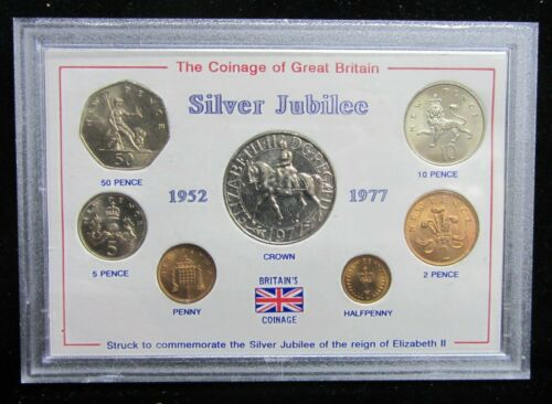 """COINS OF GREAT BRITAIN """"SILVER JUBILEE"""" SEVEN COIN SET - ELIZABETH II 50 YEARS"""