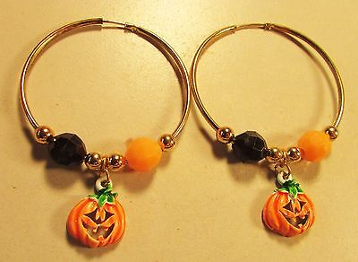 Vintage 70's Enamel Halloween Pumpkin Plastic Bead Hoop Pierced Earrings