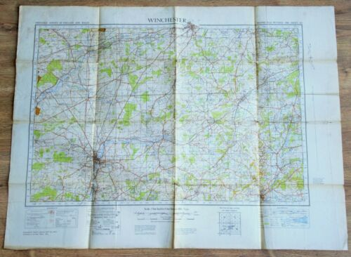 1940 WW2 British Military Map of Winchester Original War Office Issue Sheet #123