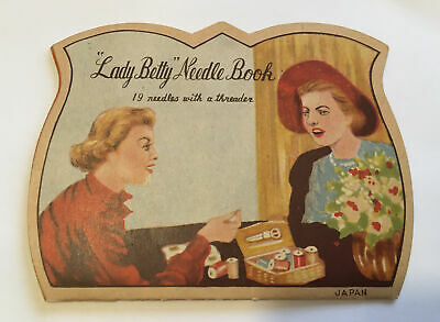 Antique Vtg Needle Book Sample Case - Advertising Lady Betty Needle Book