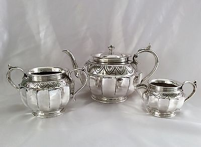 Fine Antique Victorian Chased Silver Plated Tea Set James Dixon&Sons C.1890