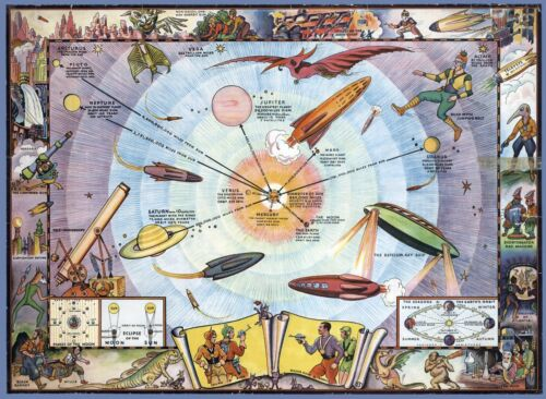 1940 circa pictorial map POSTER Buck Rogers