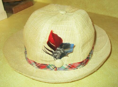 Vintage Boys Pekett Headwear Co. Tan Fedora with Feathers - Small