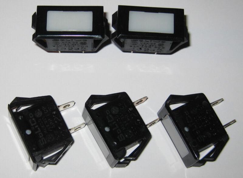 5 X Solico Series 25 Amber Rectangular Panel Mount Indicator Light - 125V Neon