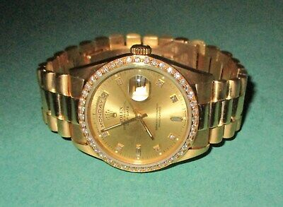 Rolex 18238 Day-Date President 18K Gold Double Quick-Set with Diamonds Watch