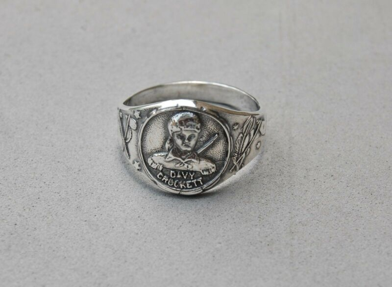 Davy Crockett Sterling Silver Ring Size 10 1/2 Reproduction Premium Prize Vtg