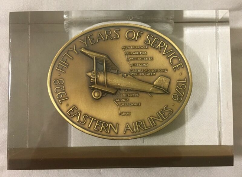 EASTERN AIRLINES 50 YEARS OF SERVICE MEDALLION ENCASED IN ACRYLIC