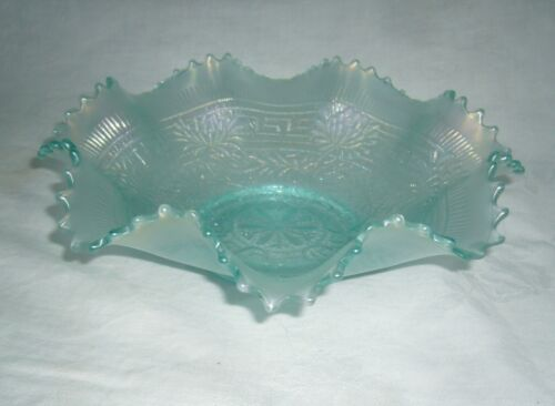 ANTIQUE NORTHWOOD EMBROIDERED MUMS PLAIN BACK ICE BLUE CARNIVAL GLASS BOWL