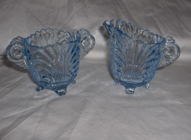 Pair Vintage Cambridge Crystal Caprice Mini Sugar & Creamer Moonlight Blue #300