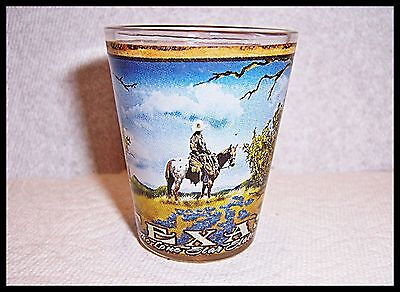 Cowboys Shot Glass (Shot Glass Texas Cowboy On Horseback State History Dallas Houston Prarie TX)