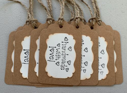 Set of 10 Handmade Gift Tags, Handmade with Love, Stamped~