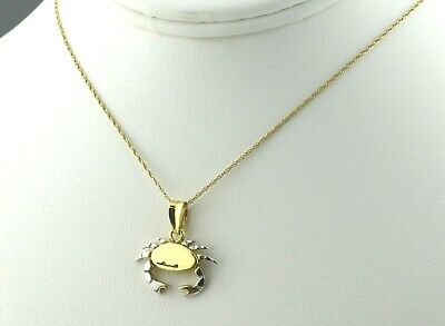 14K Two Tone Gold Cancer Zodiac Sign Crab Necklace N1681 14k Gold Cancer Crab