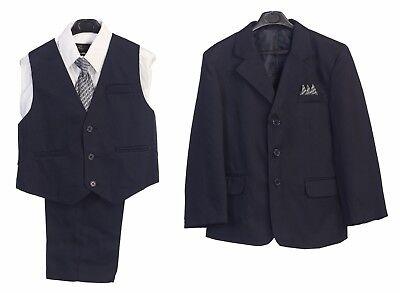 Boys Suit Navy Kids Clothes Outfit Set Blue Jacket Vest Pants Dress Shirt Tie