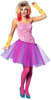 80's Glam Pop Star Rock Retro Party Pink Fancy Dress Up Halloween Adult Costume