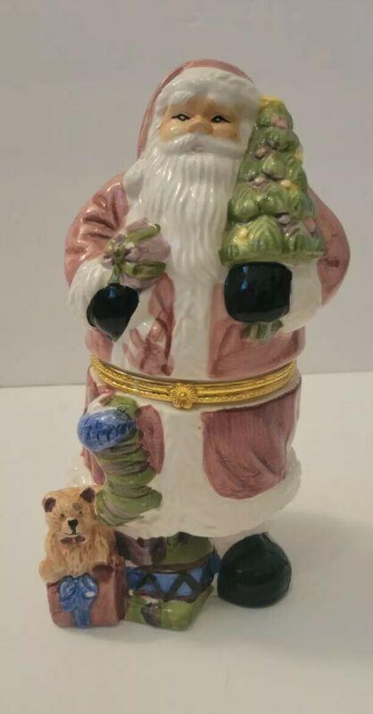 Christmas Santa Claus with Tree & Gift Hinged Trinket Box Made in China
