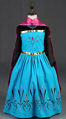 Frozen Kleid Maske Karneval Krönung Elsa Mädchen Kostüm Kleid 789001B - Elsa Krönung Kleid Kostüm
