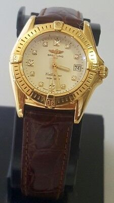 Womens Breitling 18k Solid Yellow Gold  Swiss Made 30mm  Watch
