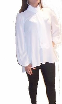 PUSSY BOW BLOUSE (TOP) BY JOHN ZACK IN IVORY   BLOUSE   WITH TIE NECK AND SASH