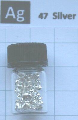 5 Gram 99.95% Silver metal nuggets in glass vial element 47 sample