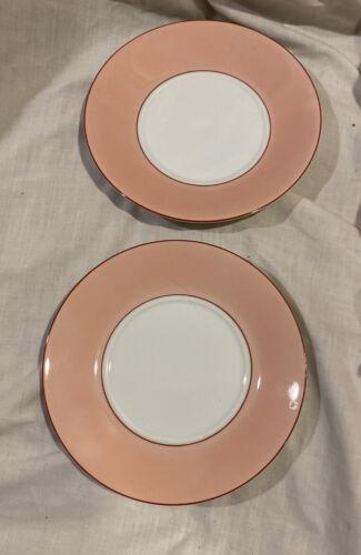 "Taitu Due PINK Saucer Desert Plates Pink Stripe 5-7/8"" Dia *NEW  *2-pcs"
