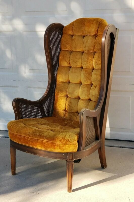 Mid-Century Vintage Gold Velvet Tufted Cane Wingback Chair Yellow