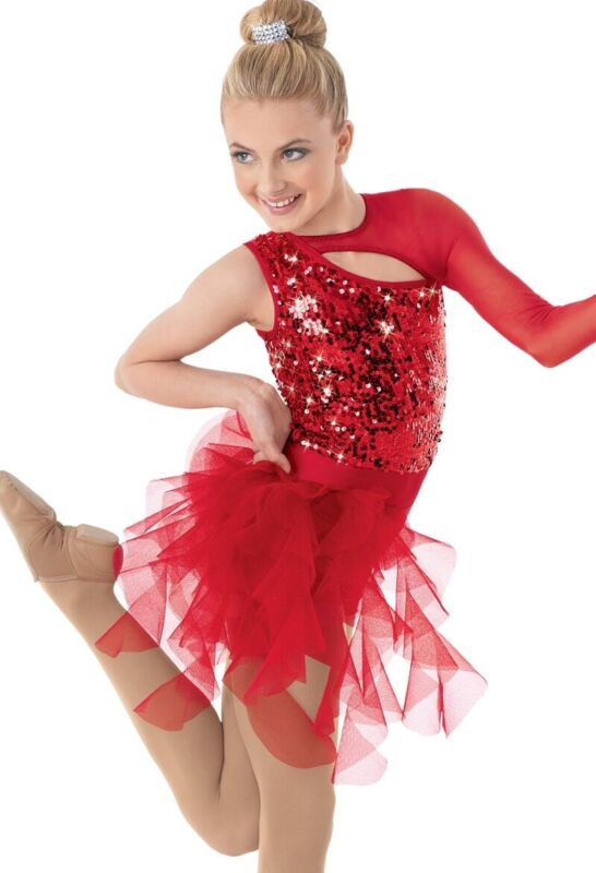 Weissman Dance Costume Competition Size LC Large Child Red Sequin Tulle Pony