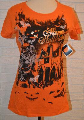 Women's Happy Halloween Short Sleeve Haunted House Orange T-Shirt Top S - XL - Top Halloween Haunts