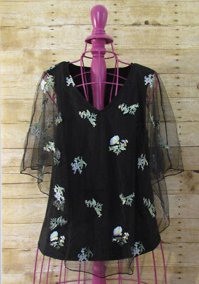 Womens Mesh-overlay (Mesh + Lace Womens Size Small Black Blouse Applique Flowers Mesh Overlay Top NWT)