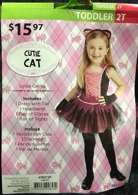 New Cutie Cat Halloween Costume Girls Sz 2T Pink & Black