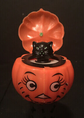 Retro Plastic JOL Pop-Up Black Cat Squeaker Halloween